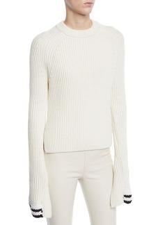 Helmut Lang Ribbed Knit Side Split Sweater w/ Crochet Cuffs
