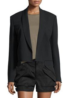 Helmut Lang Ribbed Shawl-Collar Cropped Jacket  Black