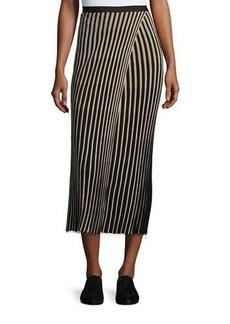 Helmut Lang Ribbed Striped Midi Skirt