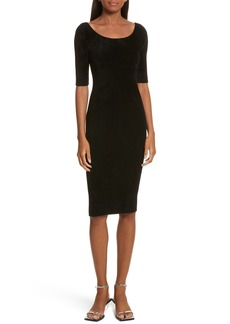 Helmut Lang Ribbed Velveteen Body-Con Dress