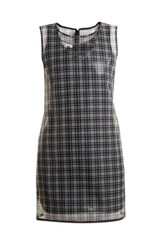 Helmut Lang Round-neck checked semi-sheer dress