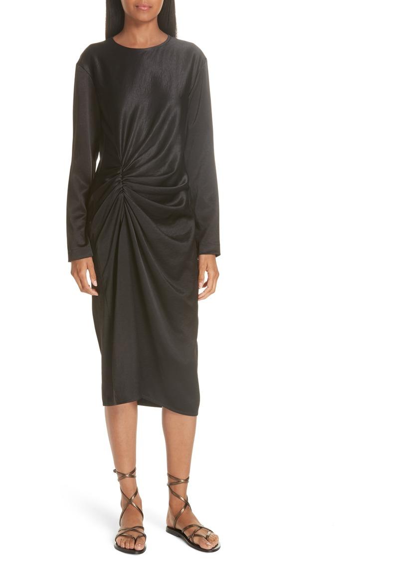 Helmut Lang Ruched Crinkle Satin Dress