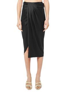 Helmut Lang Ruched Silk Blend Skirt