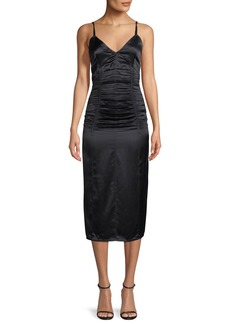 Helmut Lang Ruched V-Neck Sleeveless Slip Cocktail Dress