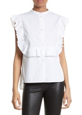 Helmut Lang Ruffle Bib Cotton Shirt