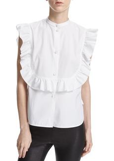 Helmut Lang Ruffle Bib Sleeveless Poplin Shirt