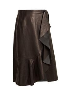 Helmut Lang Ruffled-panel leather skirt
