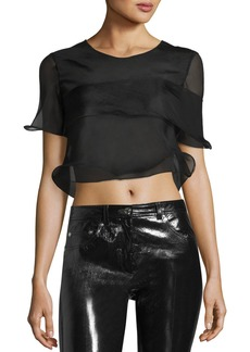 Helmut Lang Ruffled Sheer Silk Cropped Top