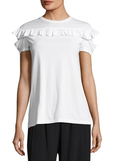 Helmut Lang Ruffled Split-Sleeve Cotton Tee