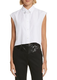 Helmut Lang Safety Pin Cotton Poplin Crop Top