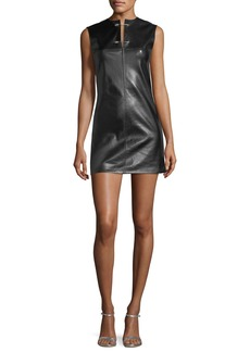 Helmut Lang Safety-Pin Leather Sleeveless Fitted Mini Dress