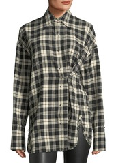 Helmut lang helmut lang safety pin snap front plaid cotton shirt abvae8981e a
