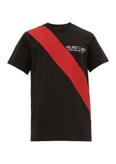 Helmut Lang Sash-print logo-embroidered cotton T-shirt
