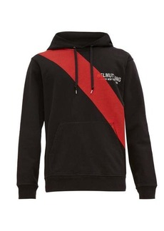Helmut Lang Sash-print logo-embroidered hooded sweatshirt
