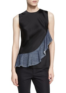 Helmut Lang Sateen Sleeveless Denim Ruffle Top