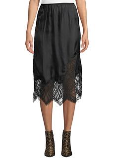 Helmut Lang Satin Lace Midi-Length Slip Skirt