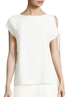 Helmut Lang Satin Tie-Sleeve Cold Shoulder Top