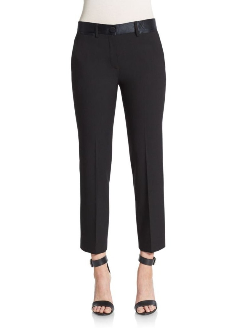 Helmut Lang Satin-Trimmed Stretch Wool Ankle Pants
