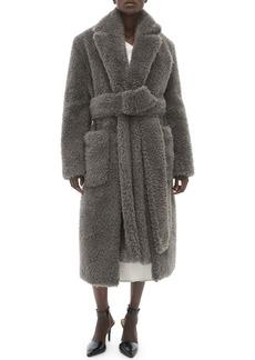 Helmut Lang Shaggy Faux-Fur Belted Coat