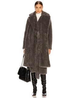 Helmut Lang Shaggy Faux Fur Belted Coat