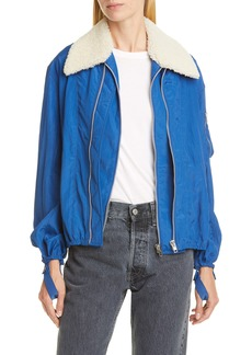 Helmut Lang Sheer Bomber Jacket with Removable Genuine Shearling Collar