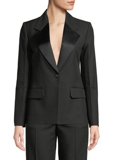 Helmut Lang Shiny-Lapel One-Button Canvas Tux Blazer