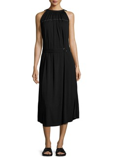 Helmut Lang Shirred Jersey Midi Dress