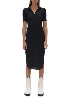 Helmut Lang Short Sleeve Cotton Rib Polo Dress