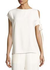Helmut Lang Short-Sleeve Crepe Tie-Shoulder Top