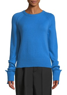 Helmut Lang Shrunken Crewneck Cashmere Knit Sweater
