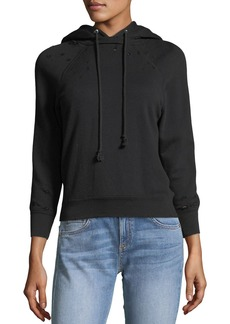 Helmut Lang Shrunken Distressed Terry Hoodie
