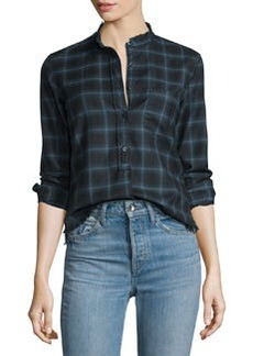 Helmut Lang Shrunken Plaid Pullover Shirt