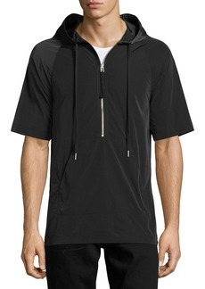 Helmut Lang Side-Zip Short-Sleeve Nylon Hoodie