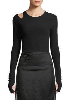 Helmut Lang Slash Long-Sleeve Ribbed Shirt