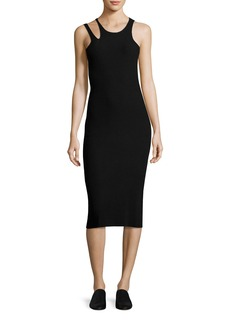 Helmut Lang Slash Rib-Knit Sleeveless Midi Dress