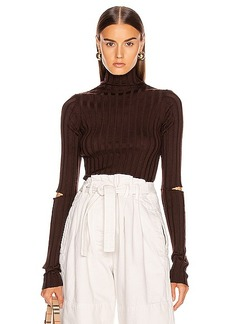 Helmut Lang Slash Rib Turtleneck Top