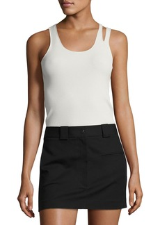 Helmut Lang Slashed Rib-Knit Racerback Tank Top