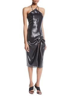 Sleeveless Halter Gathered Metallic Cocktail Dress