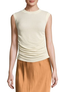 Helmut Lang Sleeveless Ruched Silk-Blend Top