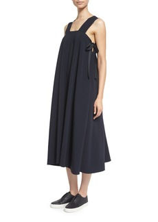 Sleeveless Side-Tie Voile Midi Dress