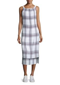 Helmut Lang Sleeveless Variegated Plaid Midi Dress