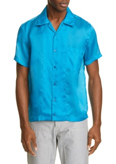 Helmut Lang Slim Fit Silk Short Sleeve Button-Up Shirt
