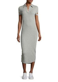 Helmut Lang Slit-Cuff Heathered Jersey Midi Dress