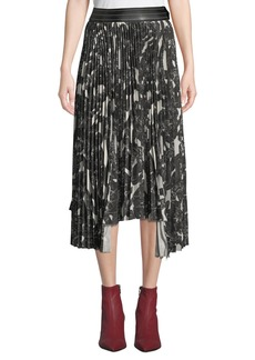 Helmut Lang Snake-Print Pleated Asymmetric Midi Skirt