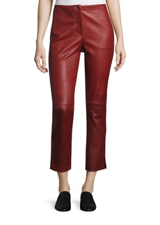 Helmut Lang Straight Cropped Leather Pants