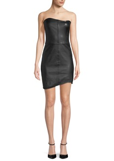 Helmut Lang Strapless Fitted Leather Mini Cocktail Dress