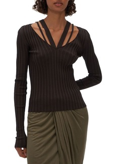 Helmut Lang Strappy Ribbed Knit Top