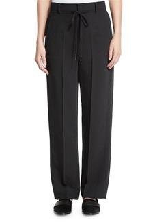 Helmut Lang Striped Wide-Leg Crepe Pants  Black/Ivory