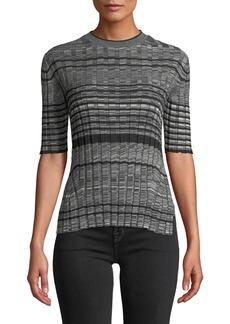 Helmut Lang Striped Wool Short-Sleeve Crewneck Sweater