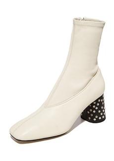 Helmut Lang Studded Heel Mid Calf Stretch Booties